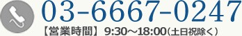 03-6667-0247【営業時間】9:30~18:00(土日祝除く)
